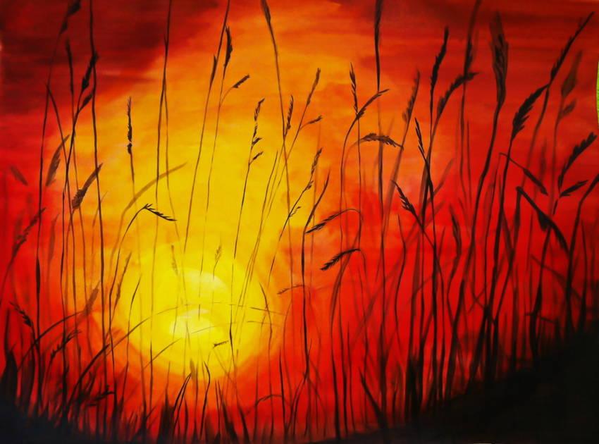Как рисовать закат красками поэтапно